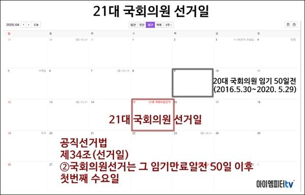 21대 국회의원 선거일은 2020년 4월 15일이다.