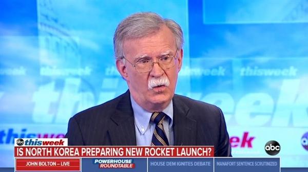 미국 동부시각으로 10일 <ABC뉴스>에 출연한 존 볼턴 미국 백악관 NSC 보좌관