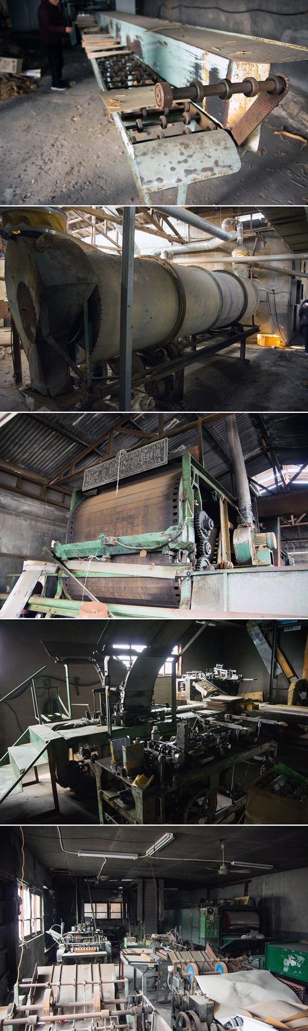 성광성냥공업사는 원목을 성냥개비로 바꾸어 완제품을 생산하는 일괄 자동화공정을 갖춘 공장이었다. 공정별로 별도의 건물이 따로 서 있다.