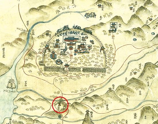▲ 조선후기 지방지도에 표기된 사천읍성과 사직단.