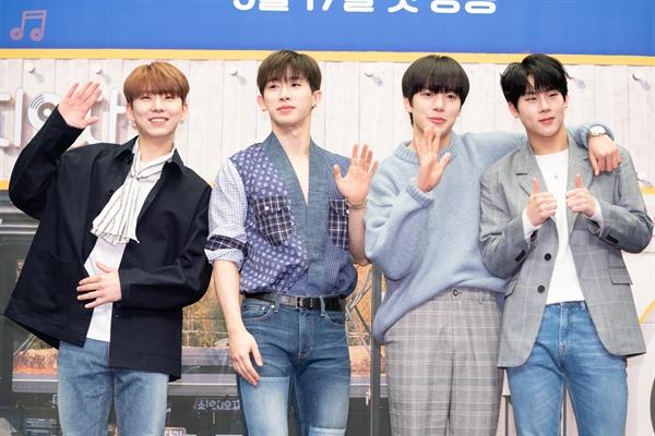 13일 서울 상암동에서 열린 tvN <쇼! 오디오자키> 제작발표회에 참석한 그룹 몬스타엑스.