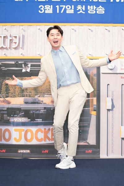 13일 서울 상암동에서 열린 tvN <쇼! 오디오자키> 제작발표회에 참석한 방송인 붐.