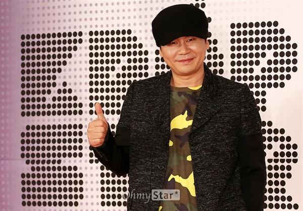 지난 2014년 SBS < K팝스타 > 제작발표회에 참석한 양현석 대표