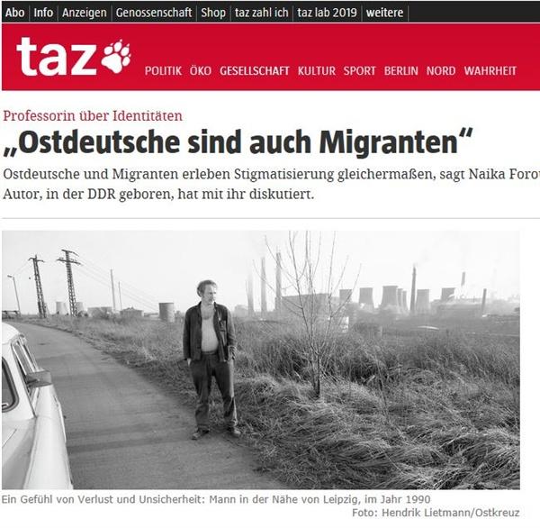 '동독주민도 이주민이다'라는 주제를 다룬 독일언론 기사.