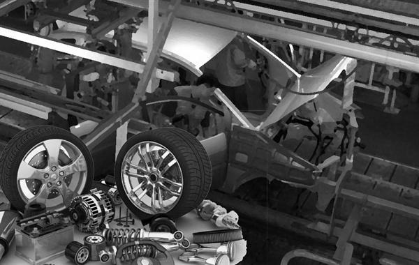 자동차공장 생산라인과 자동차 부품 이미지