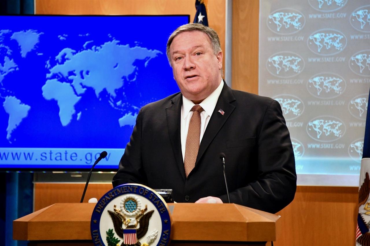 미국 동부시각으로 15일 국무부에서 기자들을 만나 최선희 북한 외무성 부상의 기자회견 내용에 대한 반응을 내놓고 있는 마이크 폼페이오 미국 국무부장관.