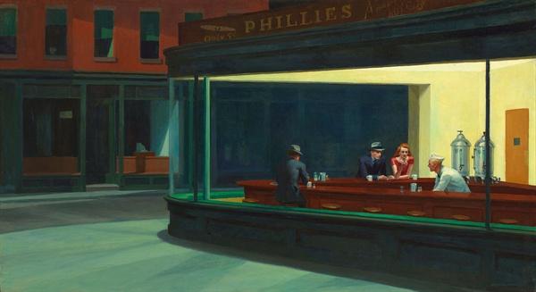 밤을 지새우는 사람들(에드워드 호퍼,1942,시카고 아트 인스티튜트)