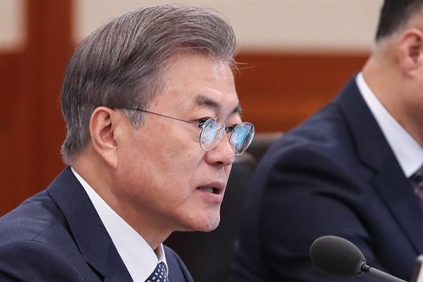 발언하는 문 대통령 문재인 대통령이 19일 오전 청와대에서 열린 국무회의에서 발언하고 있다.