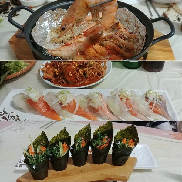 덤으로 나오는 새우구이와 아구찜 생선초밥 김말이 등이다.