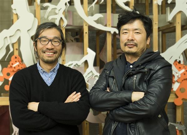 제3의 자연 정원 조성에 참여하는 두 작가 (좌)한석현, (우)김승회