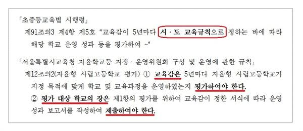 초중등교육법 시행령과 서울의 관련 교육규칙. 교육감은 평가를 해야 하고 학교는 운영성과 보고서(자체평가 보고서)를 제출해야 한다. 의무사항이다.