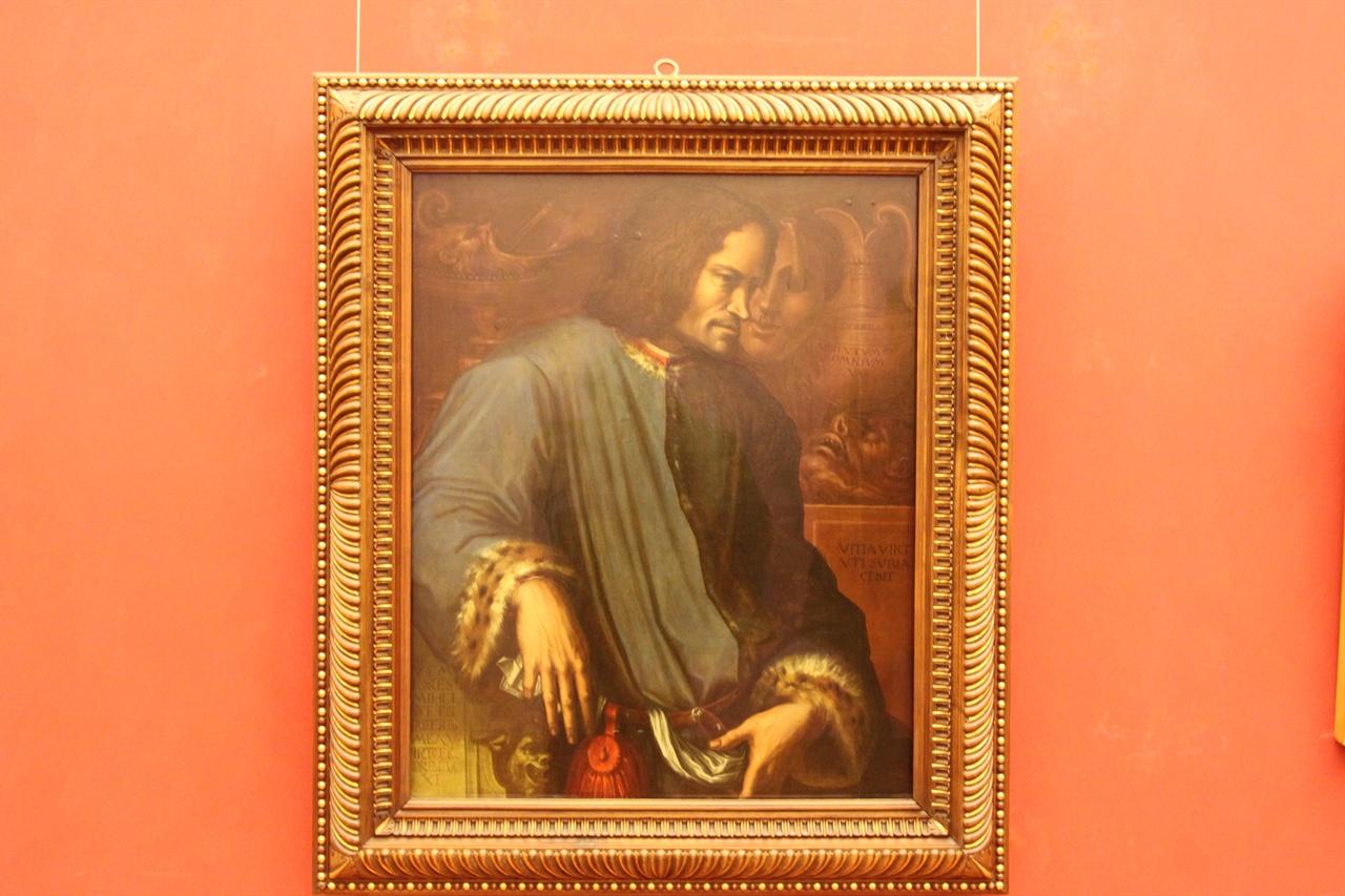 로렌초 데 메디치 초상   로렌초 사후 조르조 바사리가 그렸다, 우피치 미술관