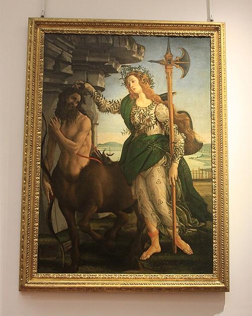 팔라스와 켄타우로스   보티첼리, 우피치 미술관. 팔라스(로렌초)가 켄타우로스(신스투스 4세)의 머리를 잡고 있다. 팔라스의 월계수와 드레스의 반지 고리 문양은 로렌초가 즐겨쓰던 가문 문양이다.