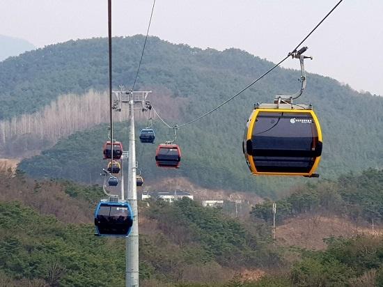 형형색색 '청풍호반 케이블카'가 비봉산을 오가며 운행하고 있다.