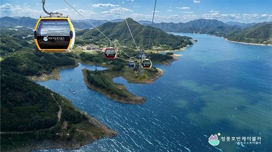청풍호반 케이블카는 청풍호 일대 풍경을 조망하기 좋은 시설을 갖췄다.