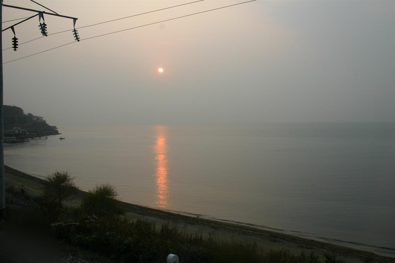 시베리아 철도변 아무르강 낙조