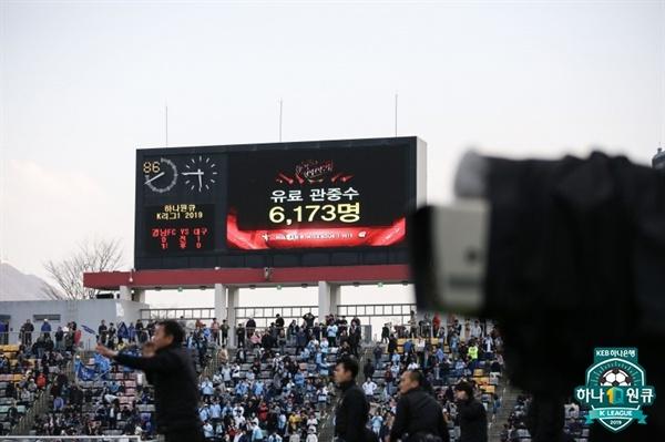 2019년 3월 30일 창원축구센터에서 열린 K리그1 경남 FC와 대구 FC의 경기. 전광판에 유료관중 수가 표시됐다.