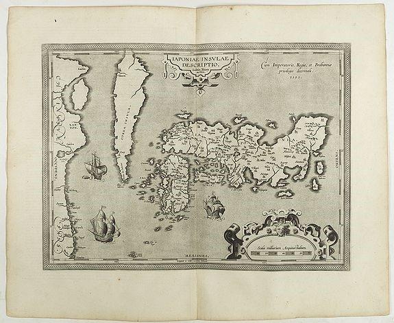 오르텔리우스(Ortelius)의 일본 지도. 한반도가 섬으로 그려져 있다.