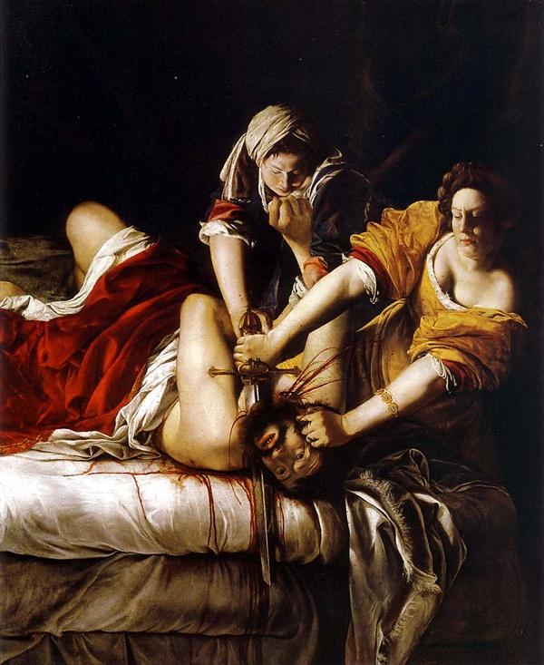 홀로페르세우스의 목을 치는 유디트(아르테미시아 젠틸레스키,1612년경)