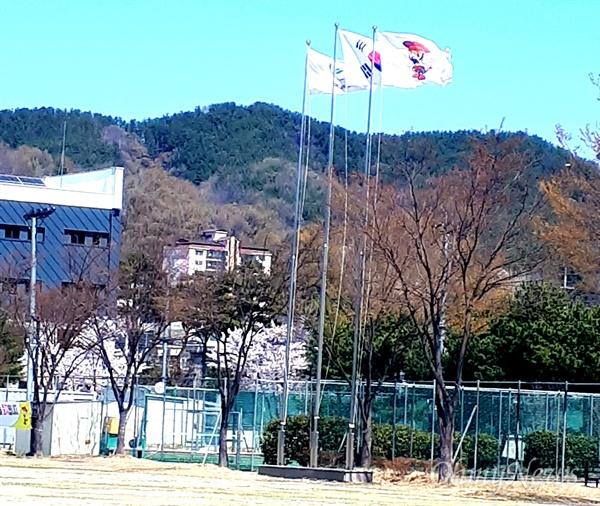 경남 의령군 체육센터에 지난해까지 '새마을기'가 달려 있던 자리에 올해부터 '홍의장군기'가 달려 있다.