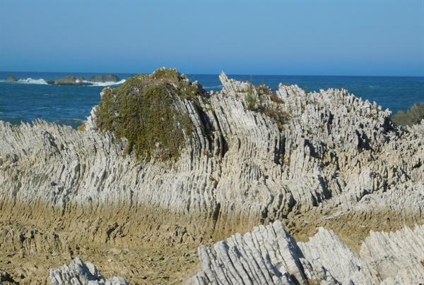 특이한 형상과 모습을 보여주는 바위가 있는 해안.