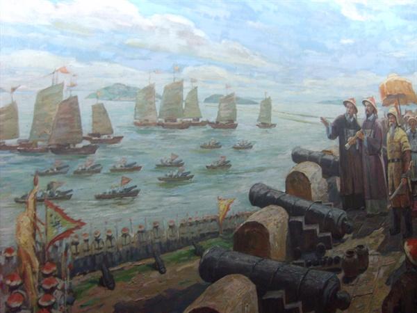 광저우시의 해전박물관에서 찍은 아편전쟁 그림.