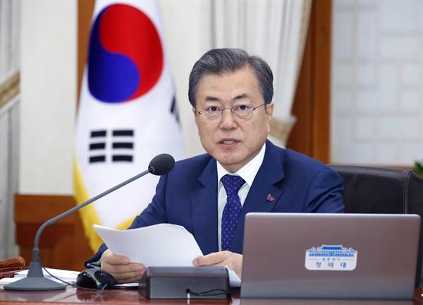 문재인 대통령이 9일 오전 청와대에서 열린 국무회의에서 발언하고 있다.