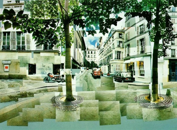 데이비드 호크니 I '퓌르스탕베르 광장(Place Furstenberg)' Paris, August 1985 Photographic collage, 88.9×80cm 이번에 이 시리즈는 빠졌다 ⓒ Collection of the artist David Hockney ⓒ David Hockney