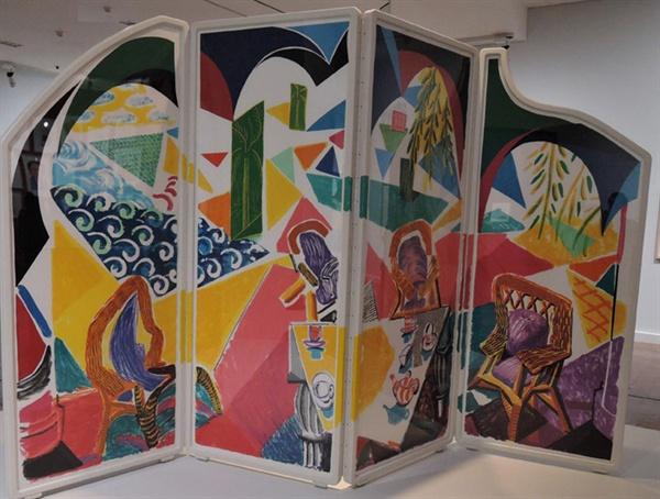 데이비드 호크니 I '카리브해의 티타임' 패널 위에 석판화 스크린 215×290×54cm 1987
