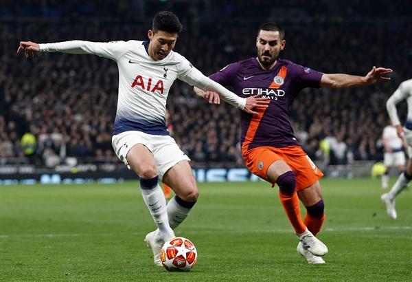 10일(한국시각) 영국 런던의 토트넘 홋스퍼 스타디움에서 열린 맨체스터 시티와의 2018-2019 UEFA 챔피언스리그 8강 1차전에서 손흥민이 경기에 임하고 있다.