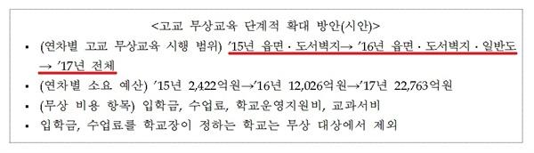 고교 무상교육 박근혜 정부의 고교 무상교육 지원 사업 예산요구서 중에서. 당시 교육부는 기재부에 예산을 요청했으나 반영되지 않았다.