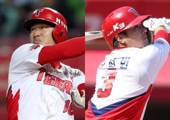 부상으로 1군에서 이탈한 김주찬과 김선빈(사진: KIA 타이거즈)
