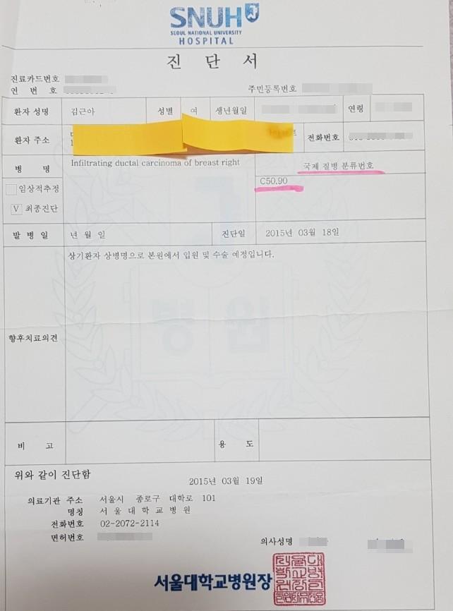 김근아 보험사에 대응하는 암환자 모임 공동대표가 제공한 서울대병원 진단서에는 유방암을 의미하는 C50.90 코드가 적혀있다.