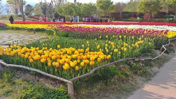 튤립이 만발한 네덜란드 정원은 여행자들이 요즘 가장 많이 찾는 정원이다.