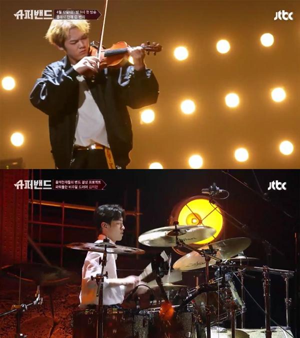 지난 12일 방영된 JTBC <슈퍼밴드>의 주요 장면