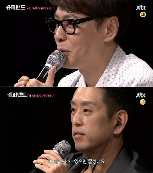 지난 12일 방영된 JTBC <슈퍼밴드>의 주요 장면.  프로듀서 윤상, 린킨 파크의 멤버 조 한 등이 심사위원으로 참여했다.
