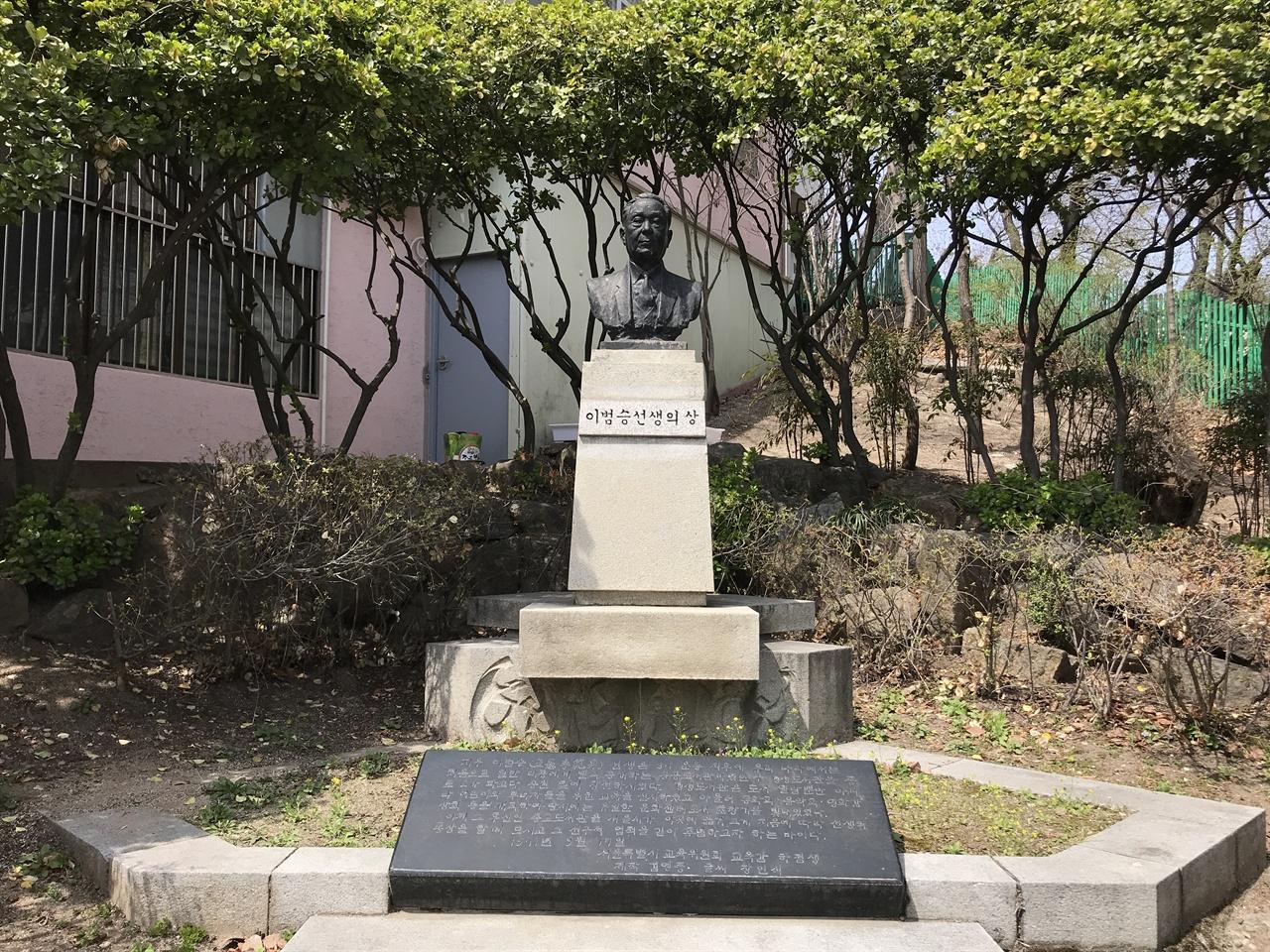종로도서관 앞뜰에 있는 이범승 동상 이범승 동상은 1971년 당시 서울시 교육감 하점생이 세우고 동상 아래 이범승 업적에 대한 글은 종로도서관 9대 관장 이홍구가 썼다. 도서관인 동상 중 우리나라에서 처음 세워진 동상이다. 이범승 동상 아래 그의 업적을 새긴 비문에는 그의 친일 행적에 대한 언급이 단 한 줄도 담겨 있지 않다. 반 세기 가까이 그의 동상은 '친일파'가 아닌 '도서관 선구자'로 종로도서관 입구를 지켰다.