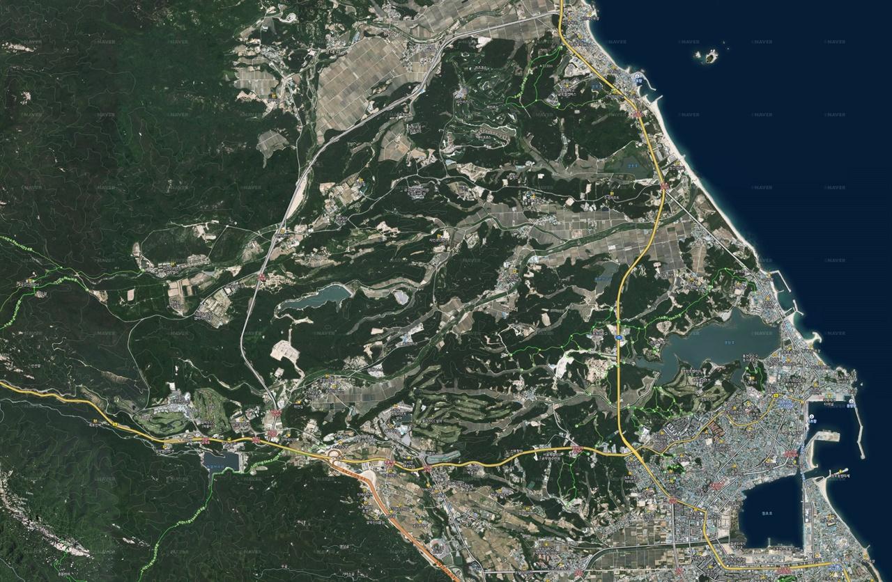 지도1 고성산불 피해지역을 돌아보기 위해 여러 개의 화면을 연결해 만들어 둔 지도.