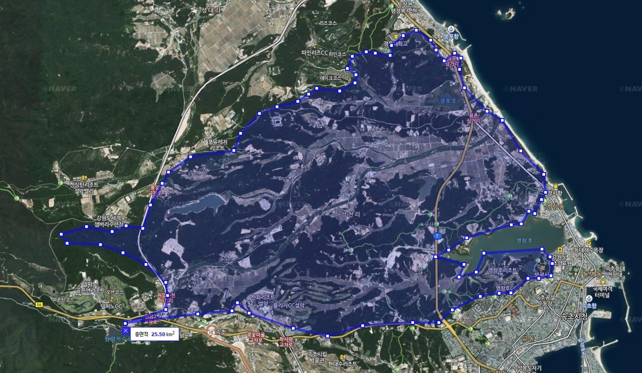 지도 4 지형과 지리적 여건 등 다양한 변수를 고려해 피해면적을 임의로 산출하고자 그려보았던 지도.