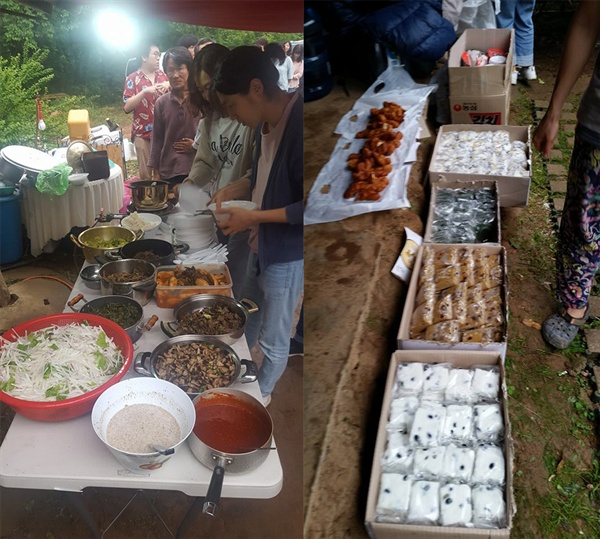 맛난 식사에 떡과 빵 치킨 등등 이 분 저 분들의 가져오신 먹을거리들로 푸짐한 잔치를 벌일수 있었습니다.