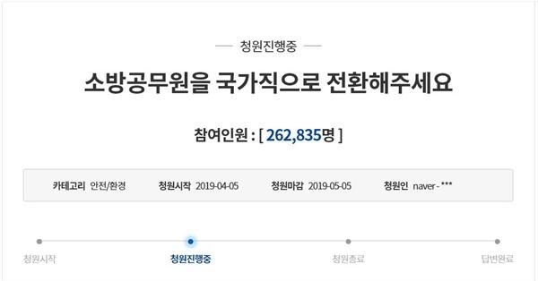 소방공무원 국가직 전환 국민청원은 2019년 4월 5일 시작되어 8일 4일만에 20만 명을 넘어섰다. 18일 현재, 소방공무원 국가직 전환에 동참한 사람은 26만2835명에 이르고 있다.