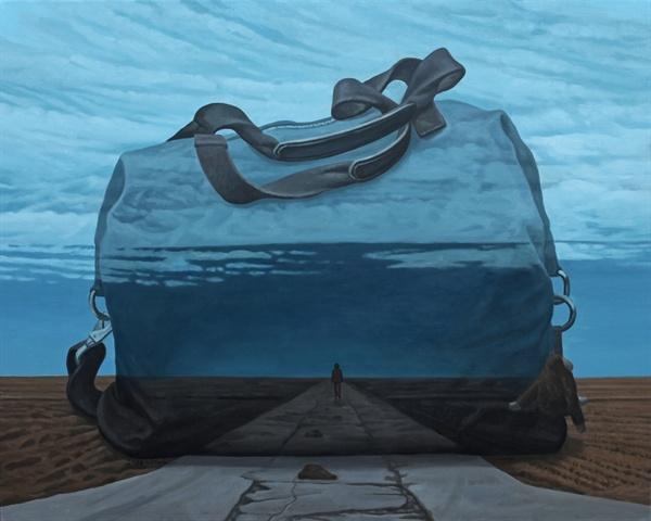 박야일 작가 '검은 가방'. 캔버스 위에 오일 페인팅. 90.9cm x 72.7cm