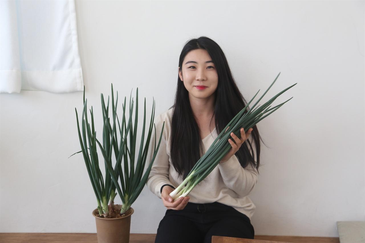 양대파를 생산하는 청년농업인 김도혜 씨
