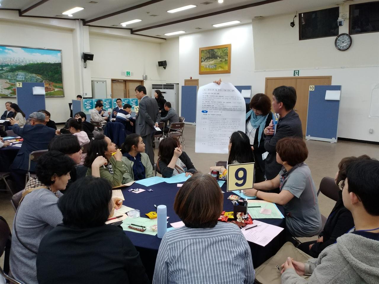 미세먼지안산원탁토론회2 '미세먼지 없는 안산을 위한 100인 원탁 토론회' 에서 테이블 진행자들이 토론을 진행하고 있다.