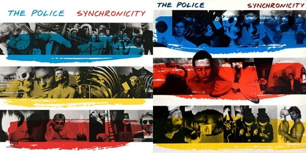 록그룹 폴리스(The Police)의 1983년 음반 Synchronicity 표지.  당시 여러 종류의 디자인으로 출시된 바 있다.