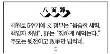 세월호 5주기 당일 사건에 대한 조선일보 <팔면봉>의 한줄 평(4/17)