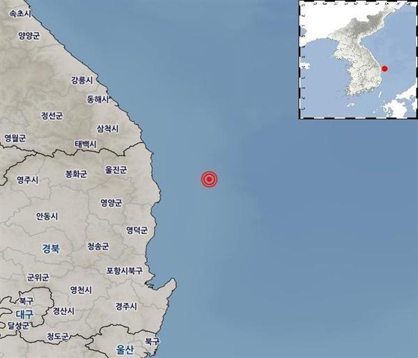 4월 22일 오전 5시 45분 19초 경북 울진군 동남동쪽 38km 해역에서 3.8 규모의 지진이 발생했다.