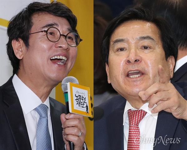 심재철 자유한국당 의원(오른쪽)이 유시민 노무현재단 이사장에게 발끈했다. 유 이사장이 지난 21일 KBS 2TV <대화의 희열 2>에 출연해 한 발언을 문제 삼은 것. 그렇다면 심 의원이 지적한 유 이사장의 발언은 무엇일까.