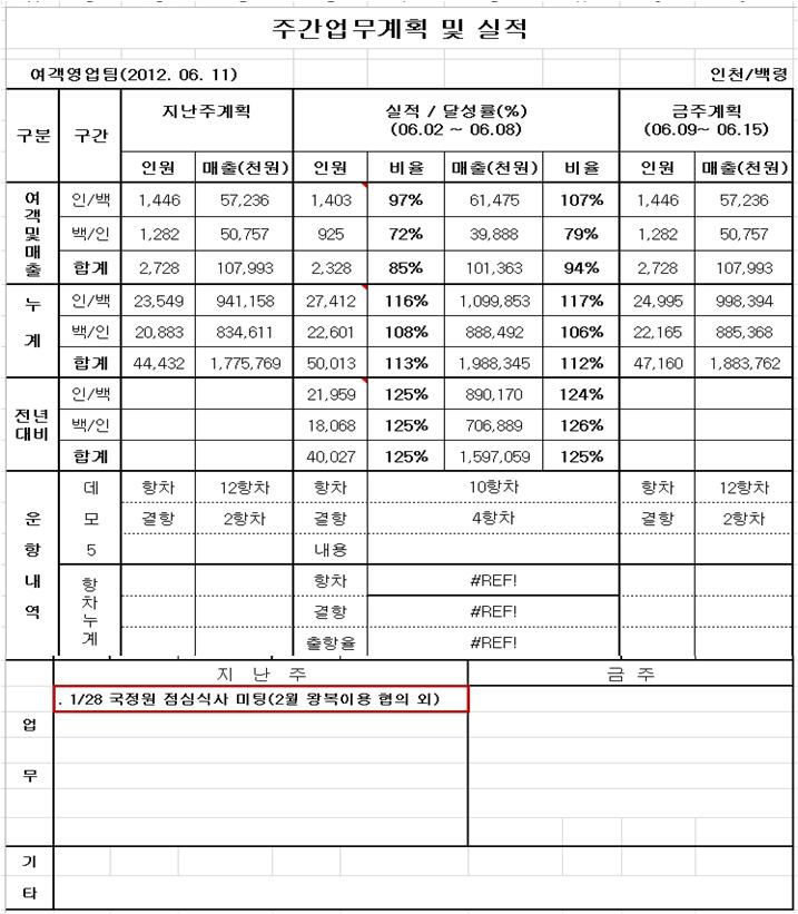 최초로 국정원이라는 글자가 등장하는 자료. 청해진해운의 <주간업무계획 및 실적> 파일에서 2011년 1월 28일 국정원과 점심식사 미팅을 한 기록이 발견됐다.