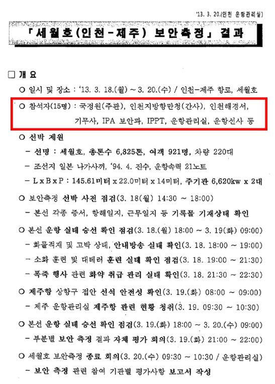 2013년 3월 18일부터 20일 사이에는 세월호에 대한 보안측정이 있었다. 보안측정에는 국정원뿐만 아니라 인천해경, 기무사 등도 참석했다.